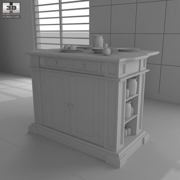 Kitchen Island in Black with Oak Top 3d model