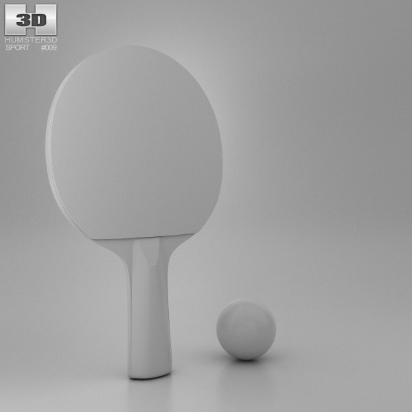 Ping Pong Rackets and Ball 3d model