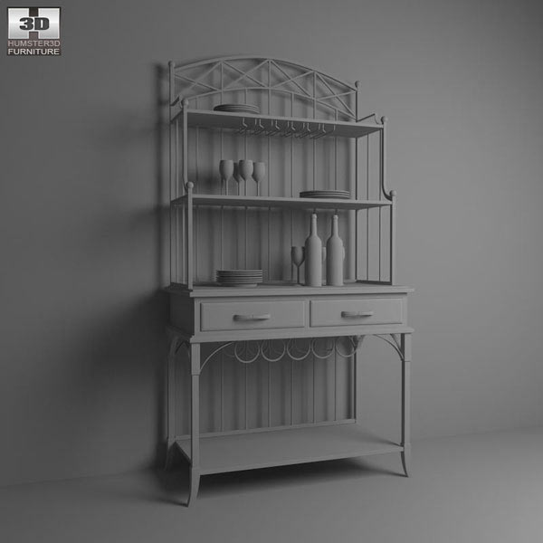Bordbeaux Server with Bakers Rack 3d model