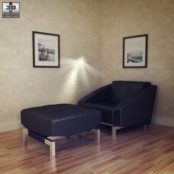 Chair Convertible with Ottoman 3d model