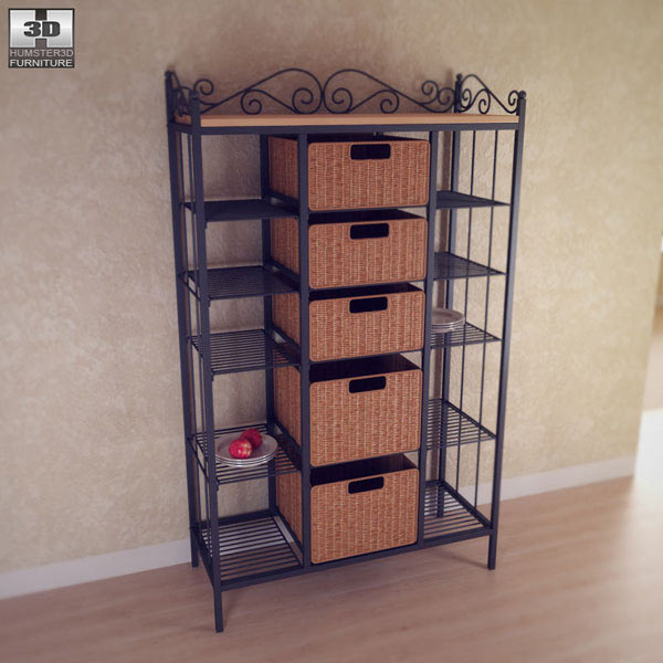 manilla kitchen storage rack 3d model - hum3d