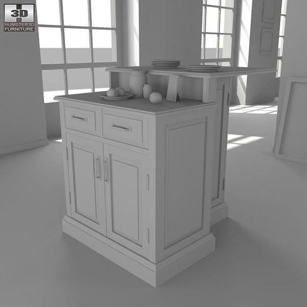 Mobile Kitchen Island 3d Model: Woodbridge Two Tier Kitchen Island 3D Model