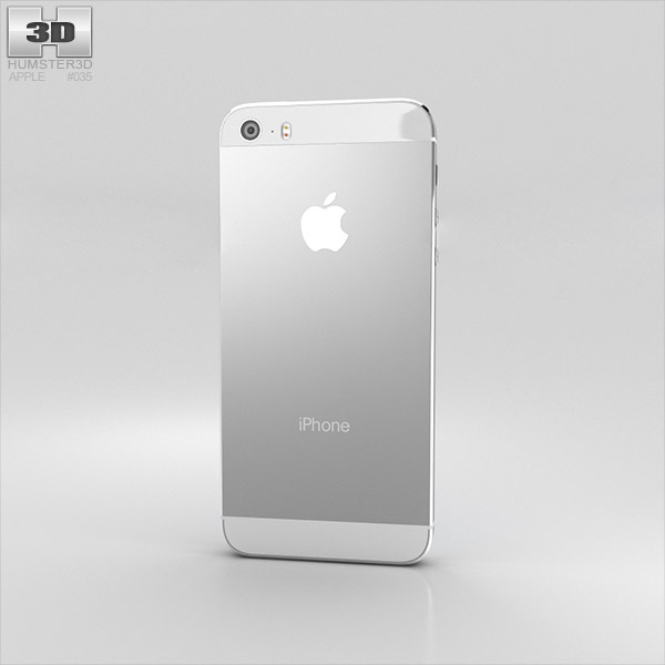 Apple iPhone 5S Silver (White) 3D model - Hum3D