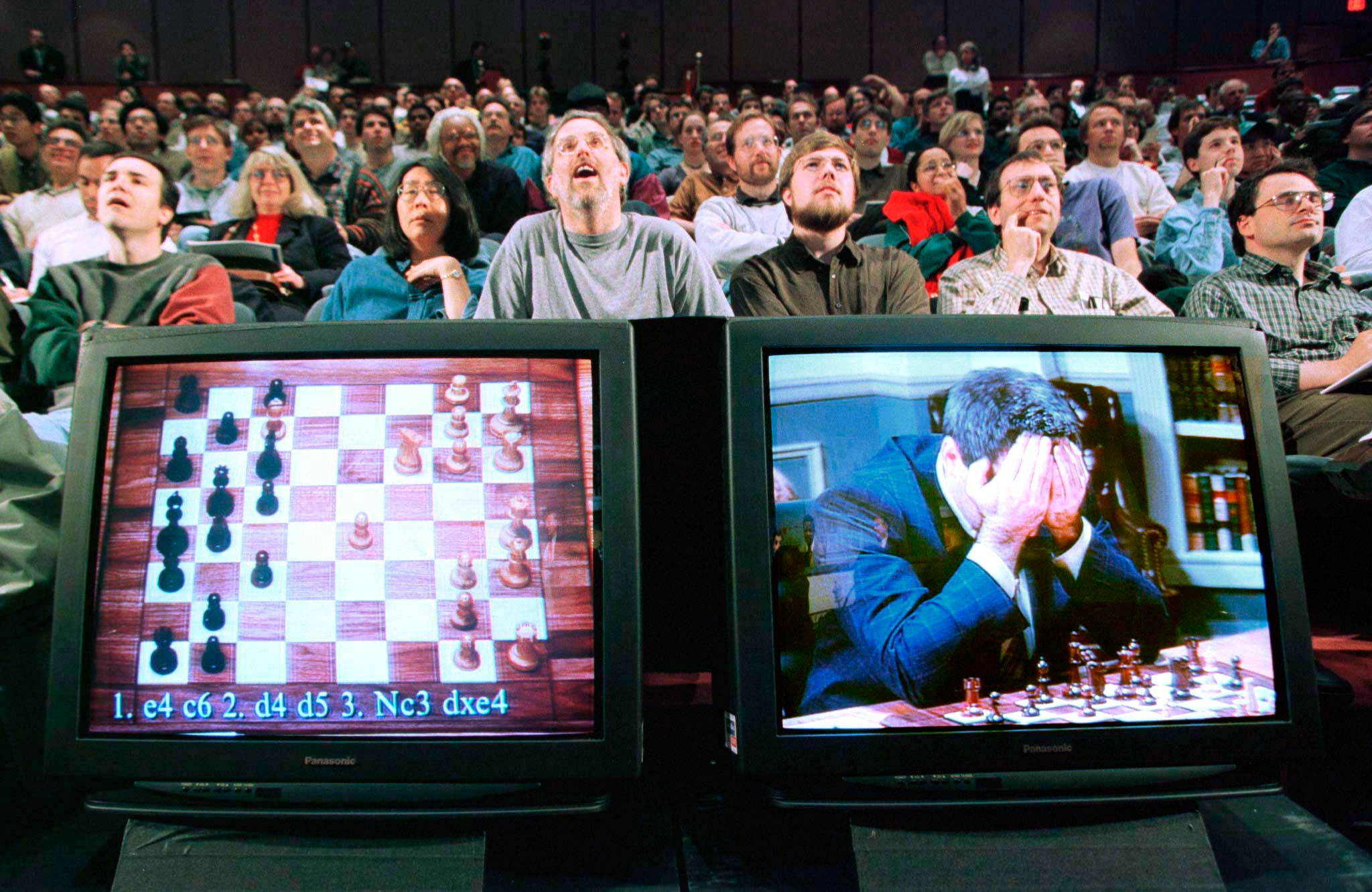 Garry Kasparov during his brain battle with chess-playing computer Deep Blue