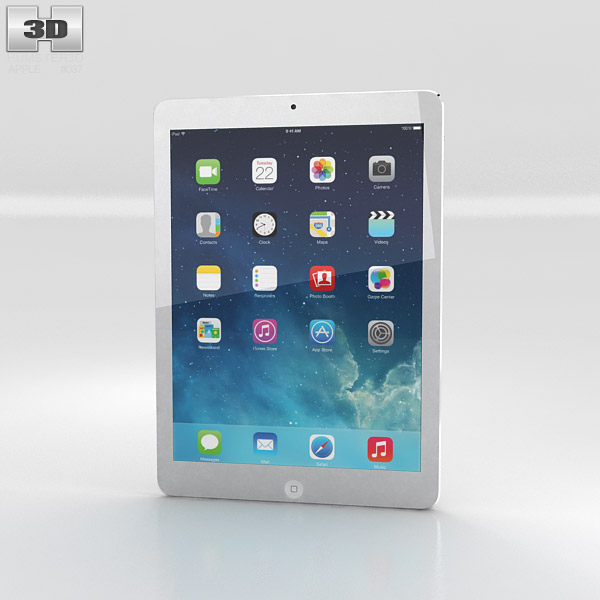 Apple ipad air silver wifi 3d model hum3d for Architecture 3d ipad