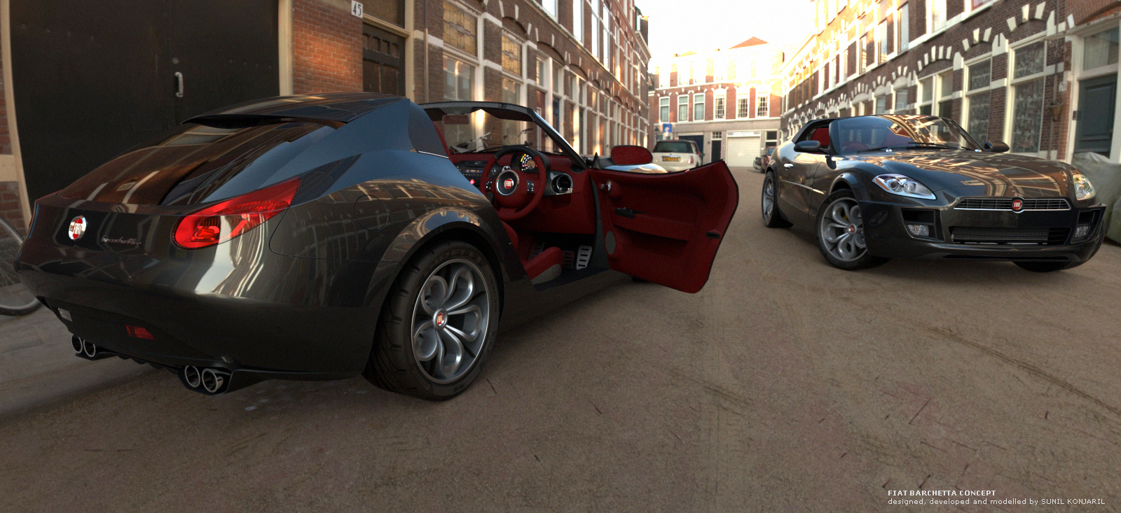Fiat Barchetta modern generation 3d art