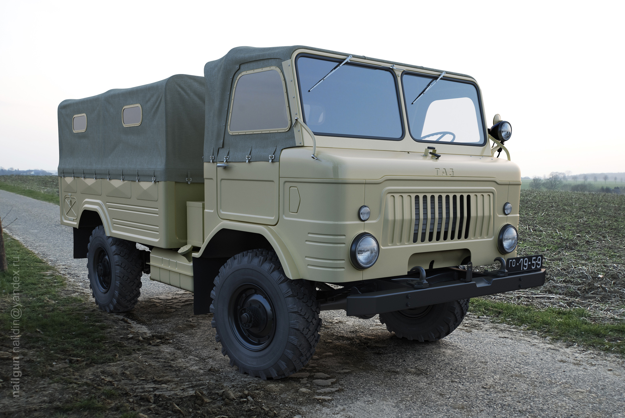 Russian army truck, 1959 3d art