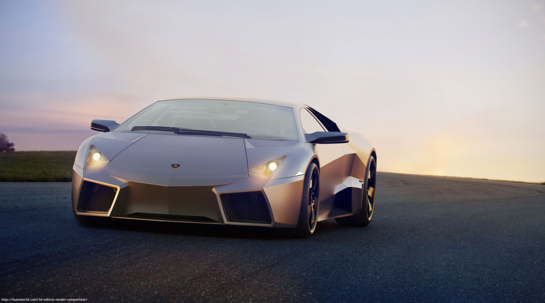Lamborgini Reventon sunset compozition