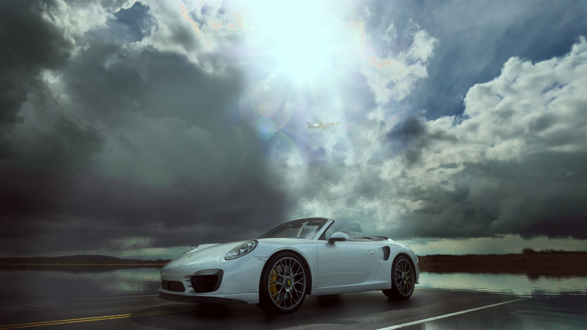 Porsche Turbo Cabriolet 2014 after rain scene