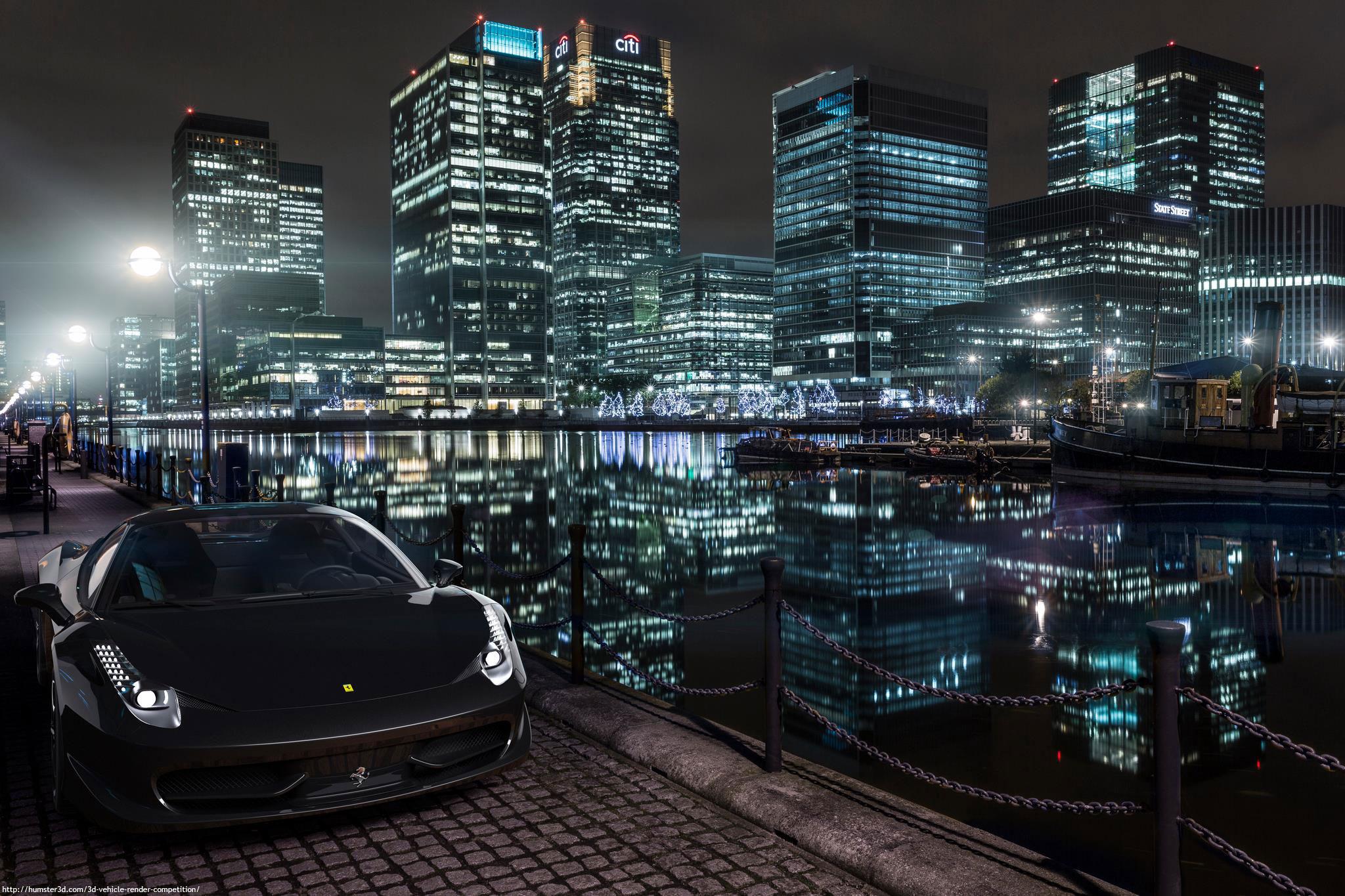 Ferrari Canary Wharf 3d art