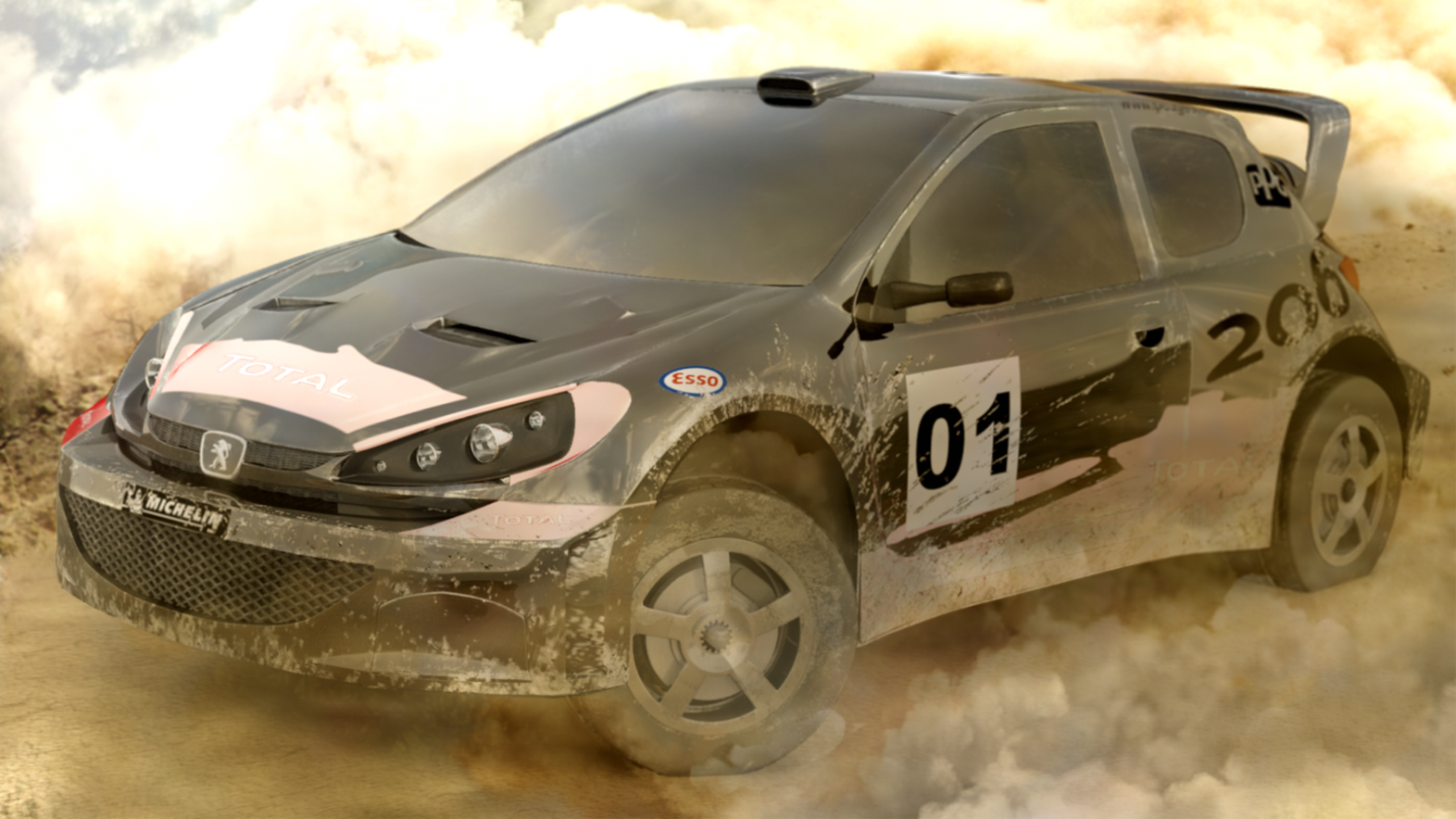 Rally Car Peugeot 206 3d art