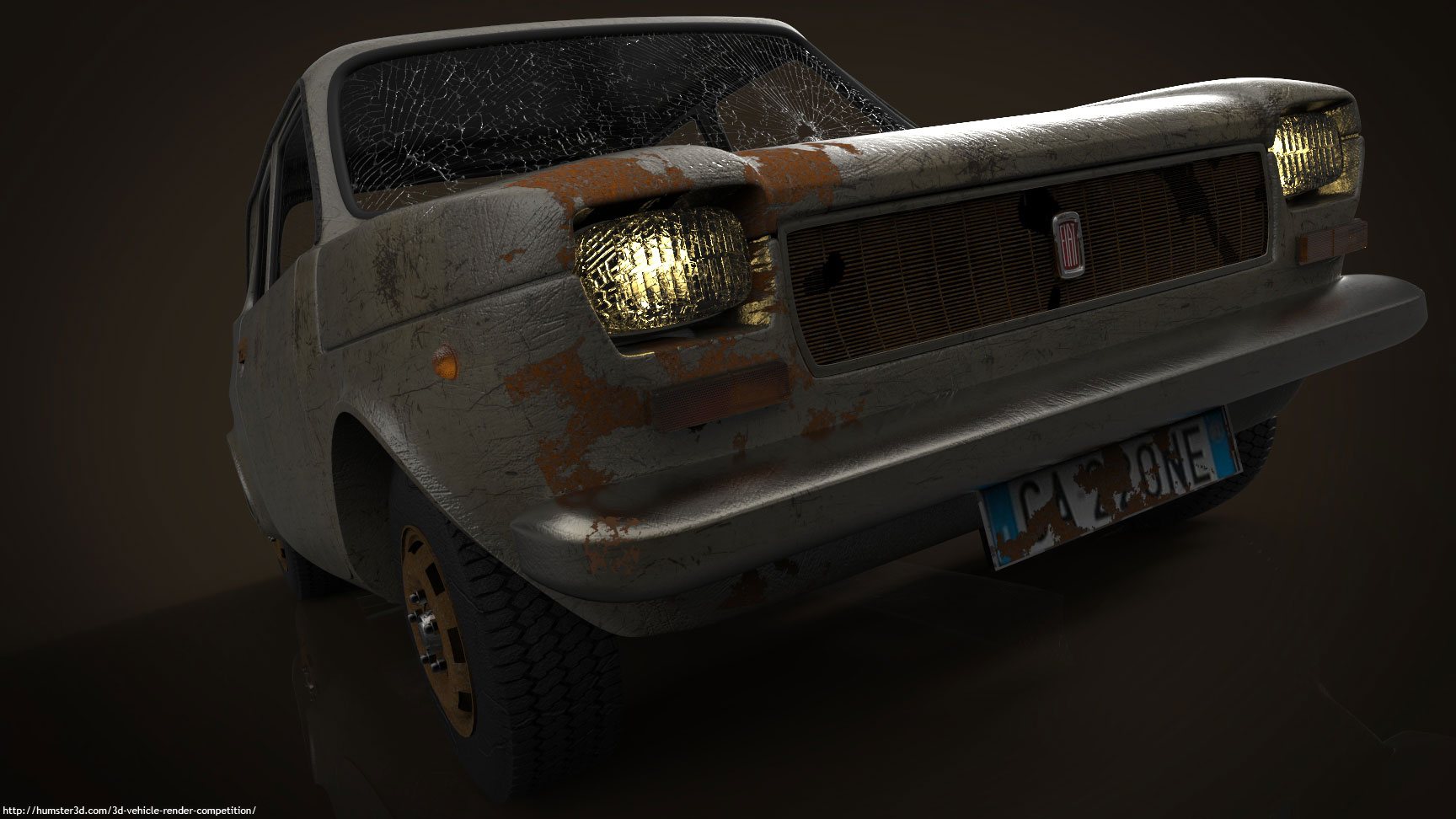 Old Fiat Car 3d art