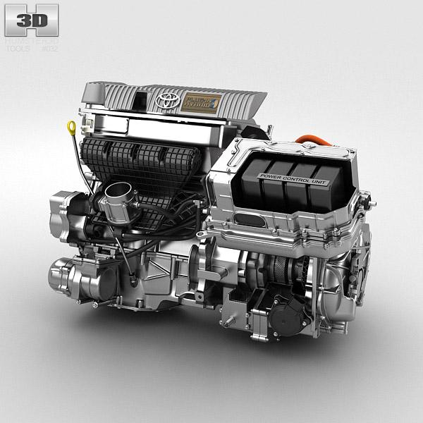 Model Car With Engine: Toyota Hybrid Engine 3D Model