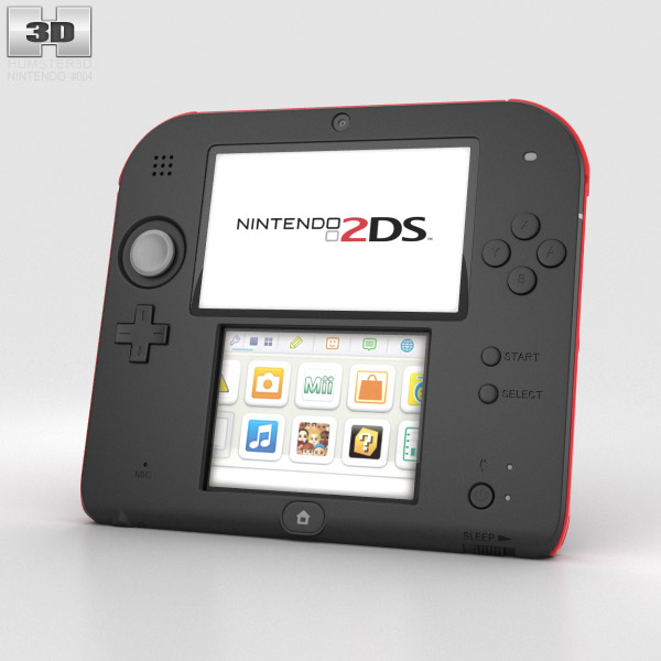 Nintendo 2DS Black + Red 3d model