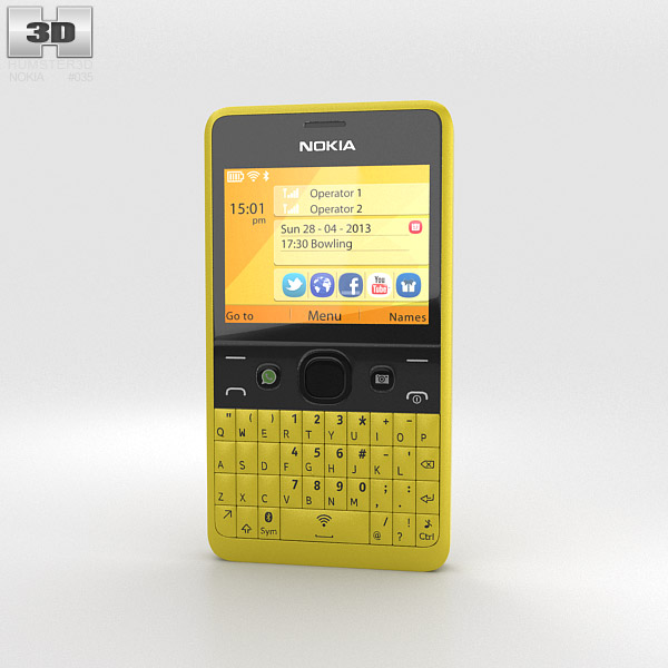 Nokia Asha 210 Yellow 3d model