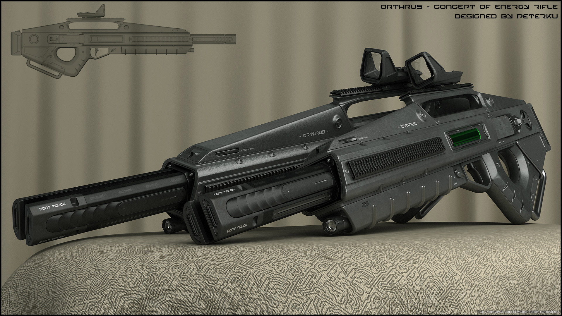 Orthrus – concept of energy rifle 3d art