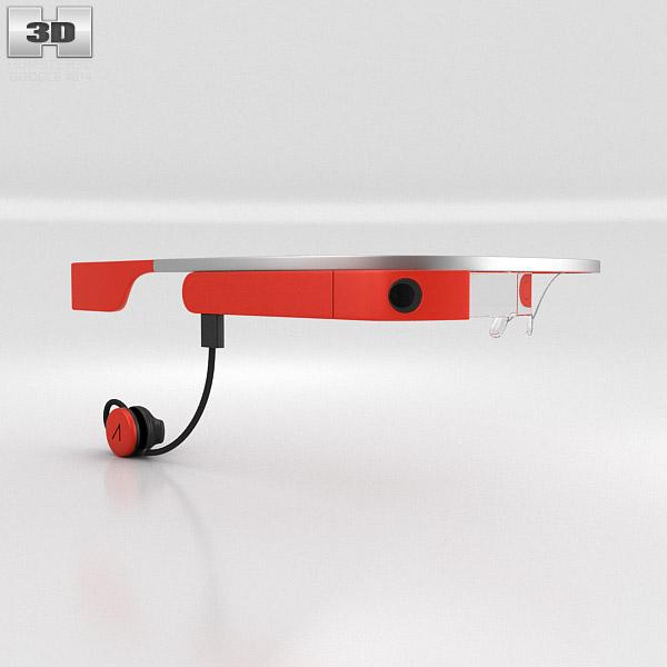 Google Glass With Mono Earbud Tangerine 3d Model Hum3d