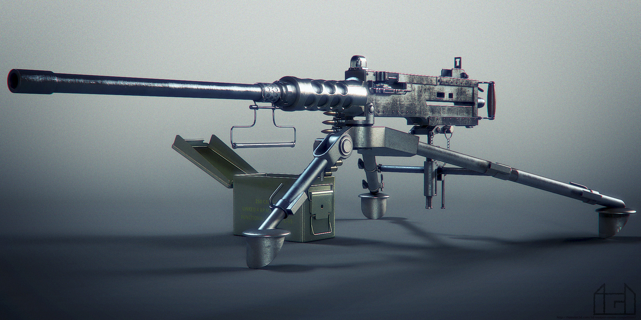 Browning M2 Machine Gun 3d art