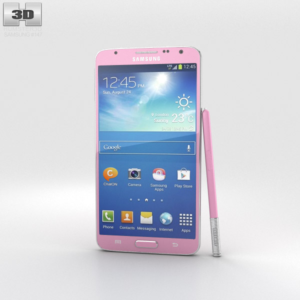 samsung galaxy note 3 neo pink 3d model electronics on hum3d. Black Bedroom Furniture Sets. Home Design Ideas