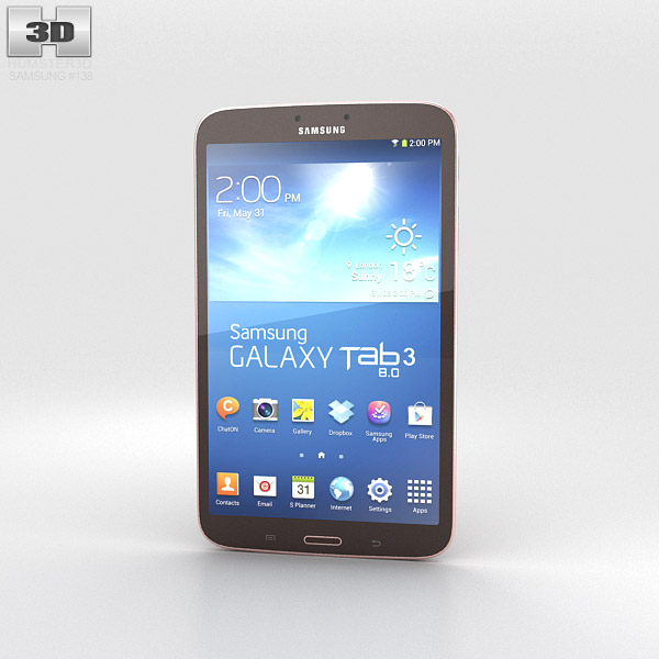 Samsung Galaxy Tab 3 8-inch Gold Brown 3d model