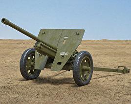Type 1 47 mm Anti-Tank Gun 3D model