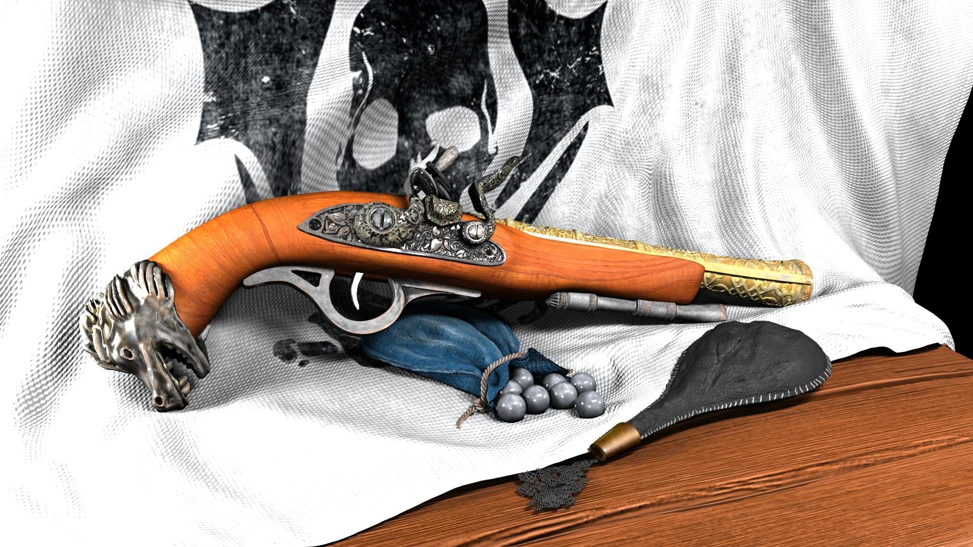 Assassin's Creed Pistol 3d art