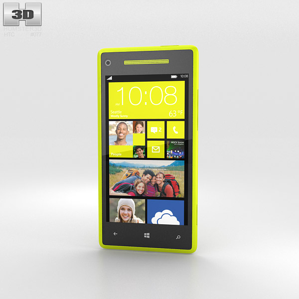 HTC Windows Phone 8X Limelight Yellow 3d model