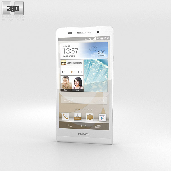 Huawei Ascend P6 White 3d model