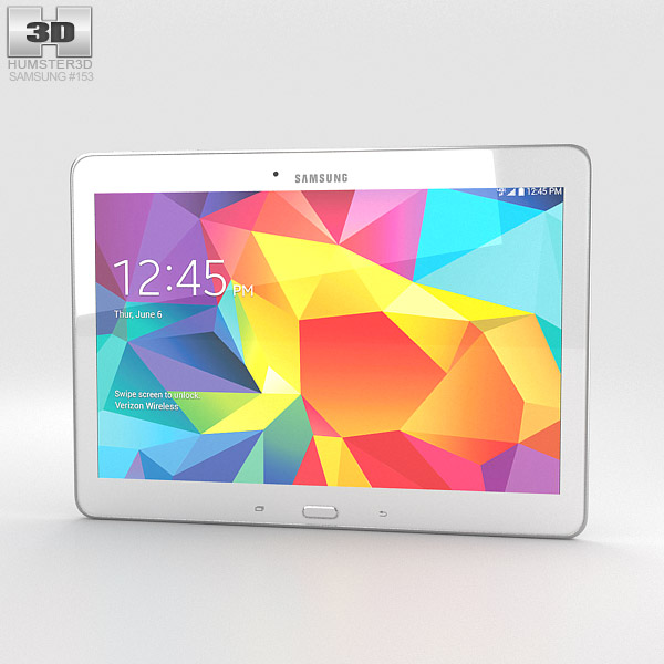 samsung galaxy tab 4 10 1 inch lte white 3d model hum3d. Black Bedroom Furniture Sets. Home Design Ideas