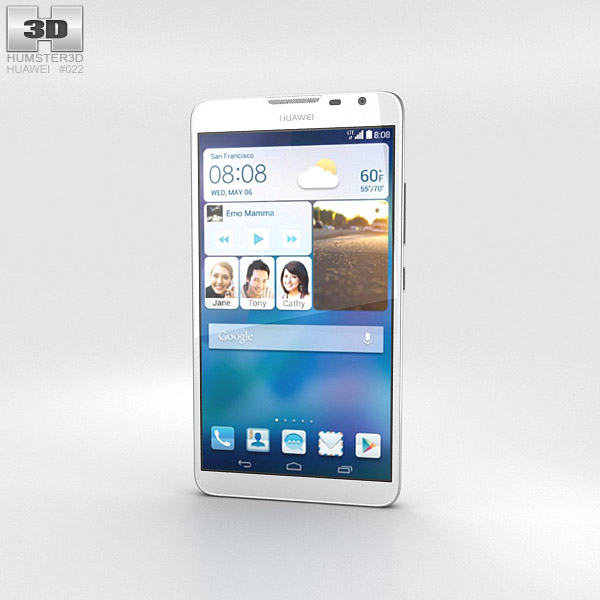 Huawei Ascend Mate 2 4G Pure White 3d model