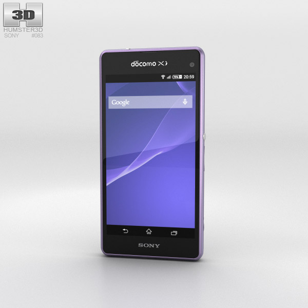 Sony Xperia A2 SO-04F Purple 3d model