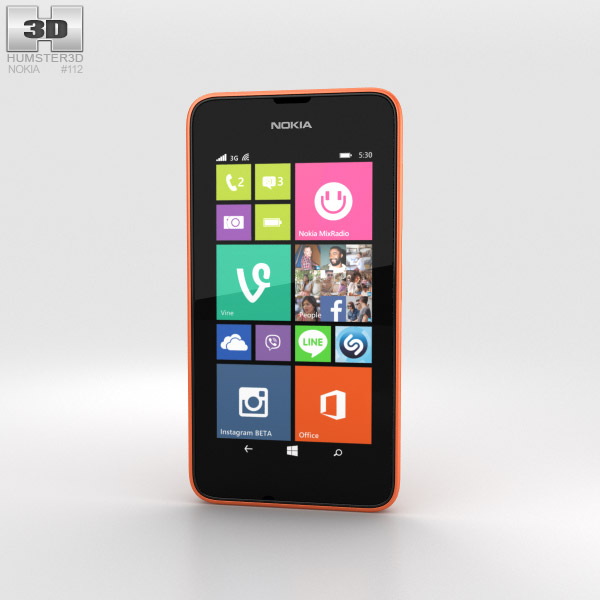 Nokia Lumia 530 Bright Orange 3d model