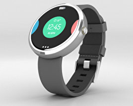 Motorola Moto 360 Light Metal Case Stone Gray Leather Band 3D model