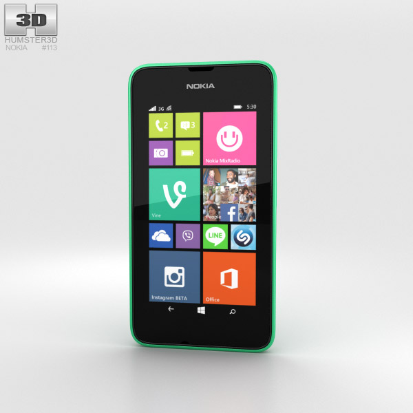Nokia Lumia 530 Bright Green 3d model