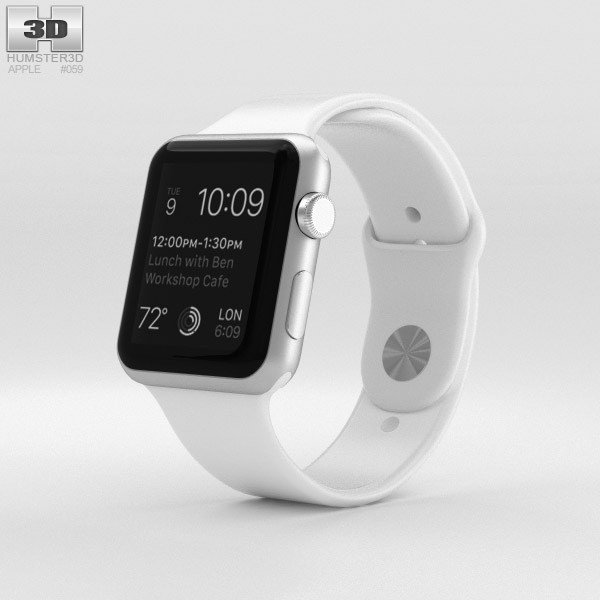 watch 82590 bd530 Apple Watch Sport 42mm Silver Aluminum Case White Sport Band 3D model