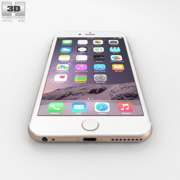 Apple iPhone 6 Plus Gold 3D model - Hum3D Iphone 6 Plus Dimensions