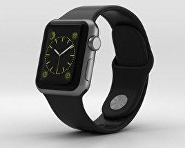 Apple Watch Sport 38mm Gray Aluminum Case Black Sport Band 3D model
