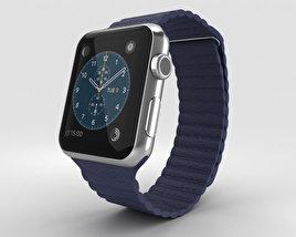 Apple Watch 42mm Stainless Steel Case Blue Leather Loop 3D model