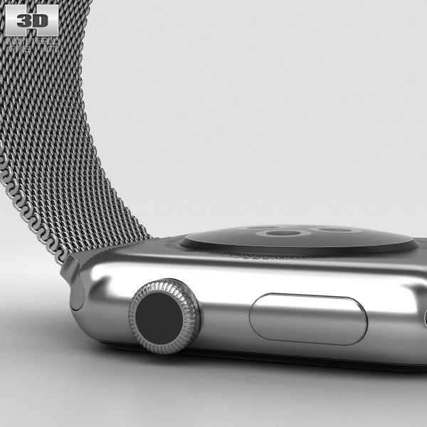 Apple Watch 42mm Stainless Steel Case Milanese Loop 3D ...