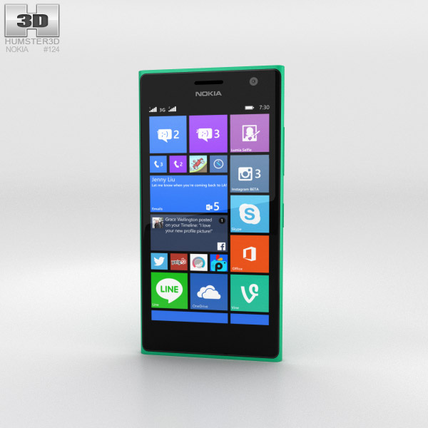 Nokia Lumia 730 Green 3d model