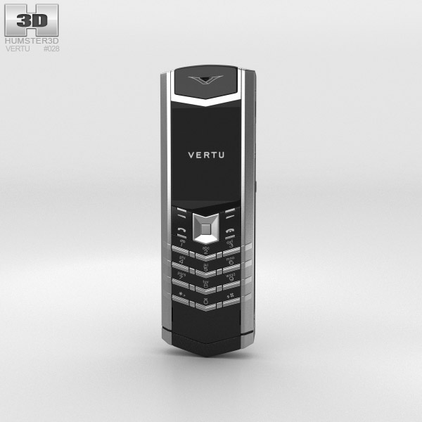Vertu Signature Stainless Steel Black Leather 3d model