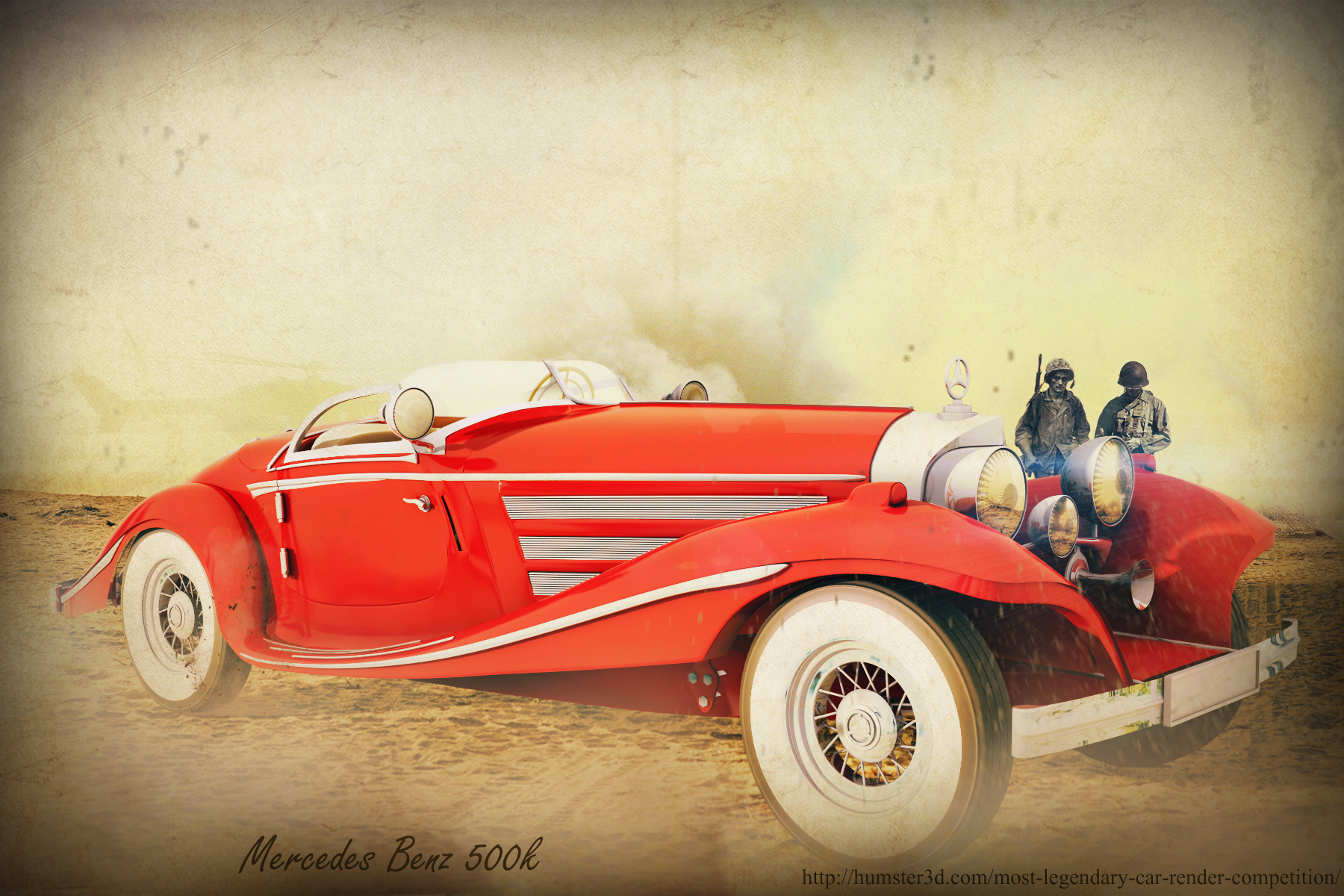 Mercedes Benz 500K Legendary Car 3d art