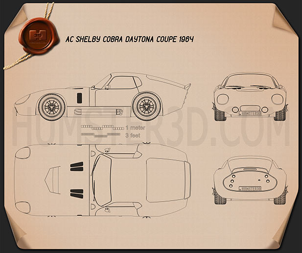 Shelby Cobra Daytona 1964 Blueprint