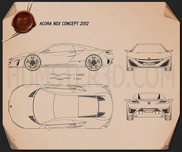 Acura NSX 2012 Blueprint
