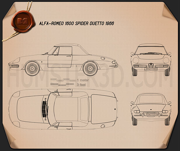 Alfa Romeo 1600 Spider Duetto 1966 Blueprint