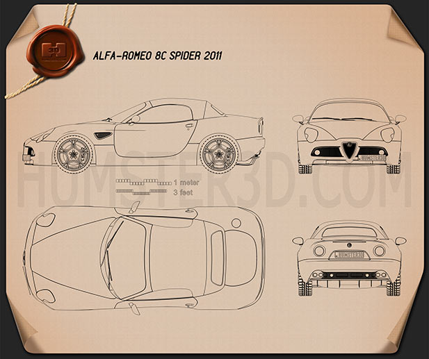 Alfa Romeo 8c Spider 2011 Blueprint