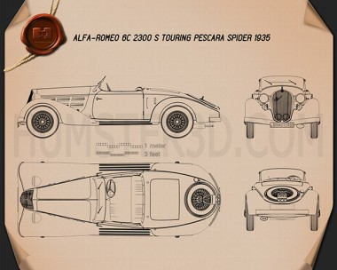 Alfa Romeo 6C 2300 S Touring Pescara Spider 1935 Blueprint