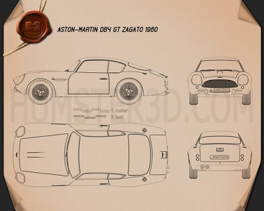 Aston Martin DB4 GT Zagato 1960 Blueprint
