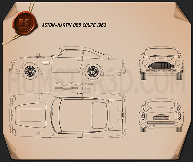 Aston Martin DB5 1963 Blueprint