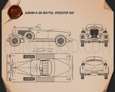 Auburn 8-98 Boattail Speedster 1931 Blueprint